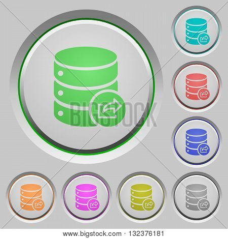 Set of color export database sunk push buttons.