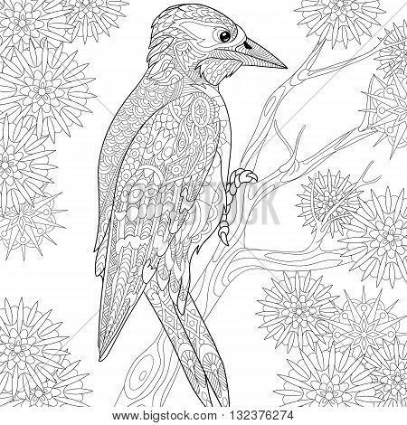Zentangle stylized cartoon woodpecker on tree branch among snowflakes. Hand drawn sketch for adult antistress coloring page T-shirt emblem logo or tattoo with doodle zentangle floral design elements.