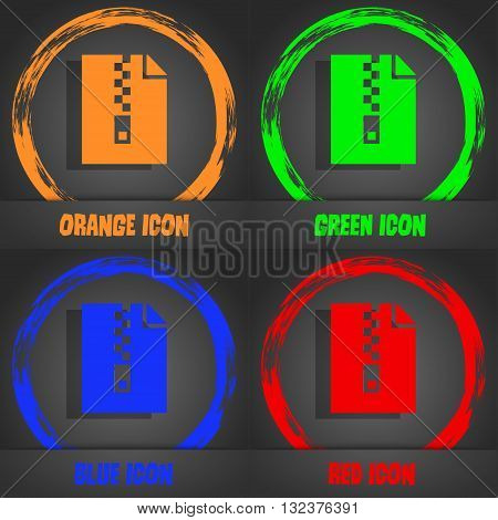 Computer Zip Folder, Archive Icon. Fashionable Modern Style. In The Orange, Green, Blue, Red Design.