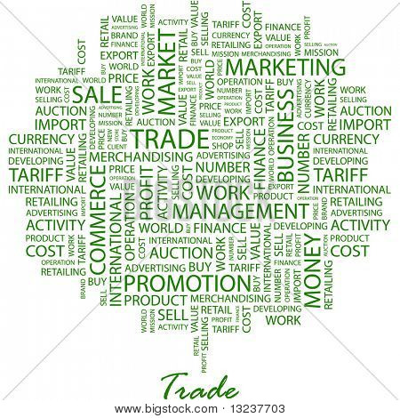 TRADE. Word collage on white background. Illustration with different association terms.