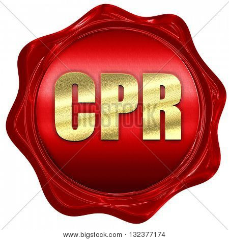 cpr, 3D rendering, a red wax seal