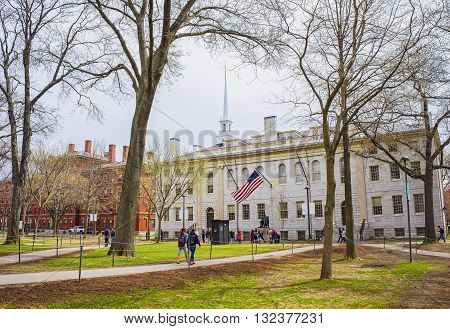 University Hall And John Harvard Statue In Harvard University
