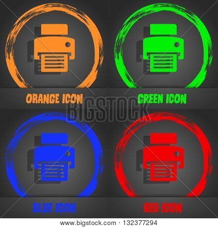 Fax, Printer Icon. Fashionable Modern Style. In The Orange, Green, Blue, Red Design. Vector
