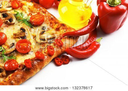 Freshly homemade pizza isolated on white