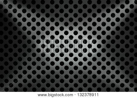 Detail of a metallic background with round holes and shadows