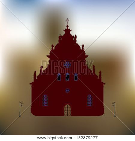 Building used for public Christian worship. Image is a vector illustration
