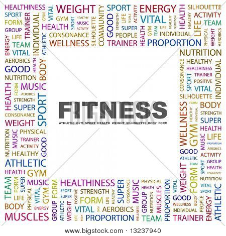 FITNESS. Word collage on white background. Illustration with different association terms.