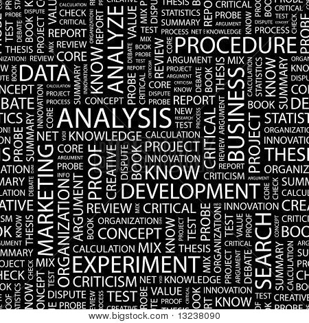 ANALYSIS. Seamless vector pattern with word cloud. Illustration with different association terms.
