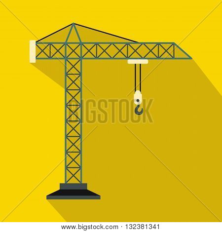Construction crane icon in flat style on a yellow background