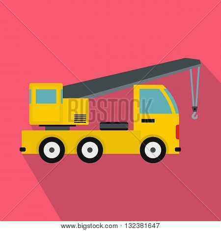 Truck mounted crane icon in flat style on a pink background