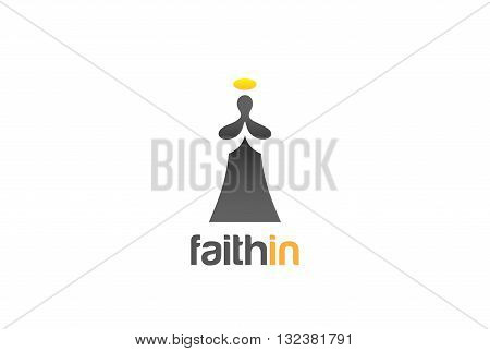 Monk Prayer Praying God Religion Logo Church vector design icon