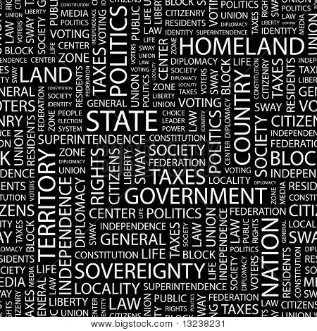 STATE. Seamless vector pattern with word cloud. Illustration with different association terms.