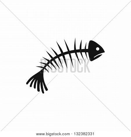 Fish bones icon in simple style isolated on white background