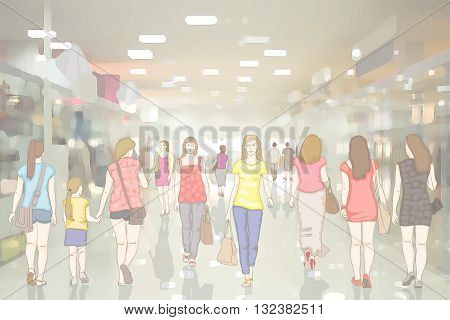 People in the interior of modern department store with glass pavilions and mirror floor. Walking and shopping