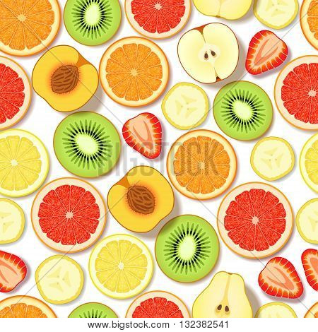 Seamless pattern with sliced fresh fruits and berries on white background