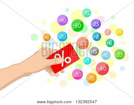 Red plastic card with white percent sign in one's hand and multicolored circles with discounts around