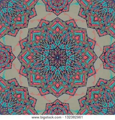 Oriental seamless pattern of mandalas. Vector blue pink and grey background. Template for textile carpet wallpaper shawls.