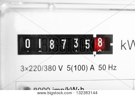 Electric counter, close up