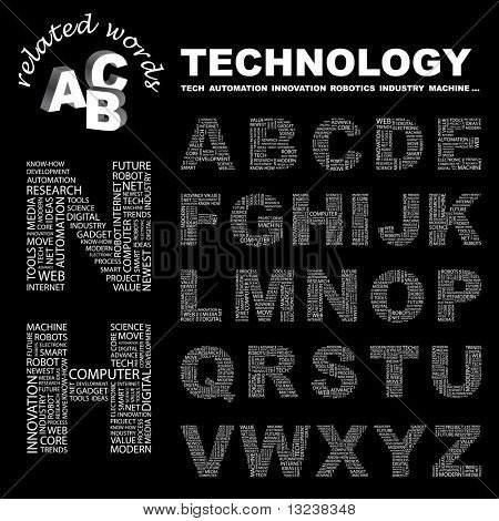 TECHNOLOGY. Vector letter collection. Illustration with different association terms.