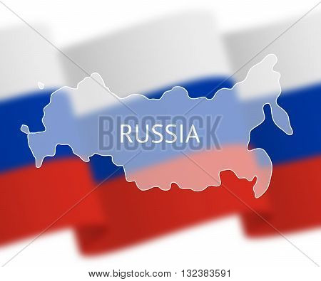 Stylized outline map of Russia on national flag background. Inscription RUSSIA over the image