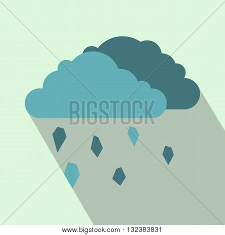 Clouds and hail icon in flat style on a light blue background