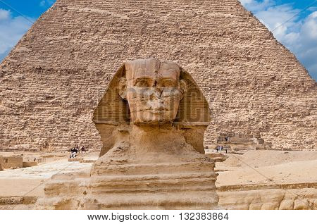 The Sphinx at Giza and one of the great pyramids.