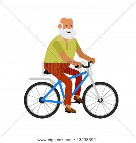 vector detailed character senior, senior age travelers. Old age retired tourist. Elderly senior having summer vacation. Old tourists riding on a bicycle. Active senior