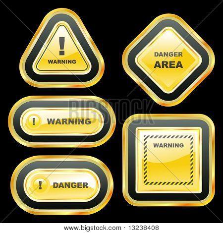 Warning banner set. Vector template.
