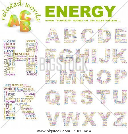 ENERGY. Vector letter collection. Illustration with different association terms.