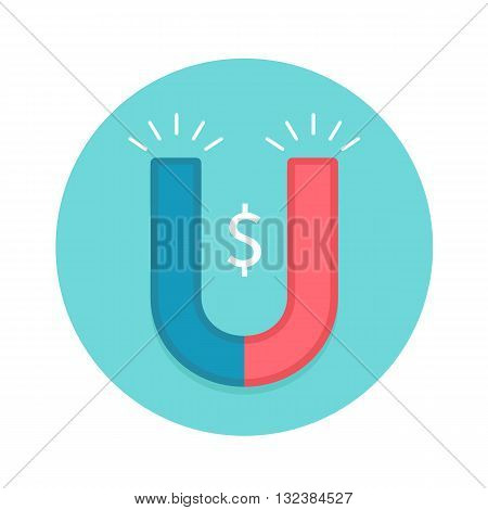 Icon of magnet. Red and white magnet with symbol Dollar on a blue background. Vector illustration
