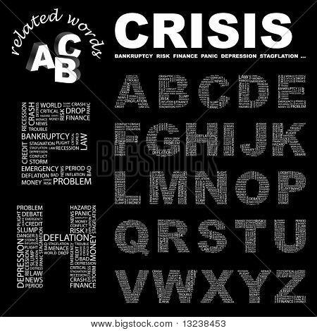 CRISIS. Colección de la letra del vector. Ilustración con términos diferentes de la asociación.