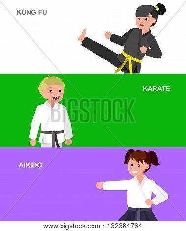 Cute vector character child. Illustration for martial art karate, aikido, kung fu. Kid wearing kimono and training. Child take fighting pose