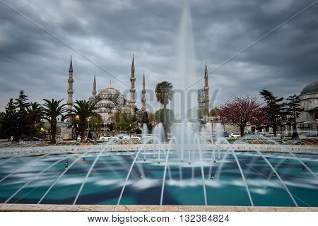 Fountain is outside the entrance to the mosque in the Hippodrome Blue Mosque.