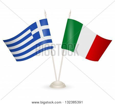 Table stand with flags of Greece and Italy. Symbolizing the cooperation between the two countries.
