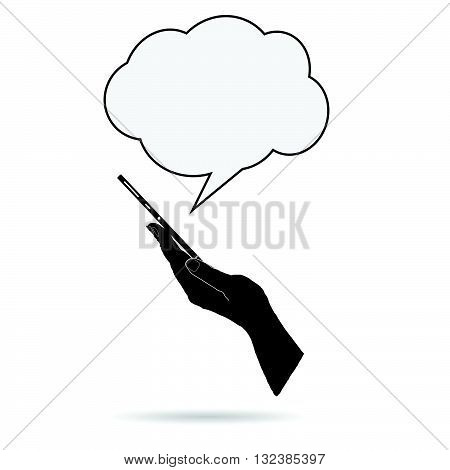 mobile phone in hand illustration with speech bubble