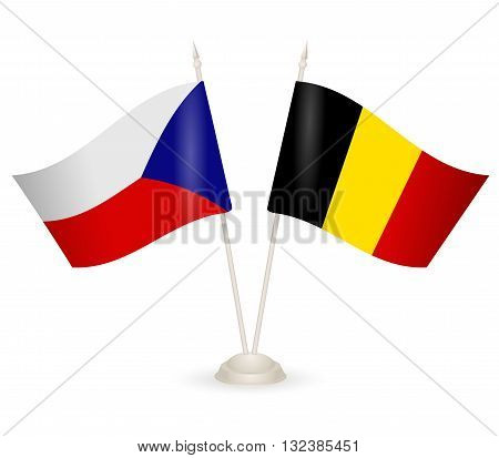 Table stand with flags of Chech and Belgia. Symbolizing the cooperation between the two countries.