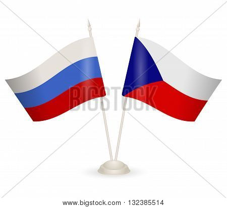 Table stand with flags of Chech and Russia. Symbolizing the cooperation between the two countries.