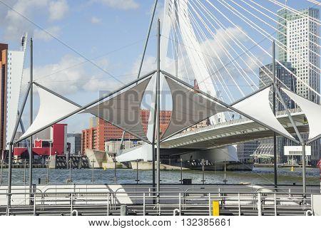 view to Rotterdam city harbour, future architecture concept, bright landscape noone