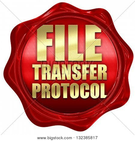 file transfer protocol, 3D rendering, a red wax seal