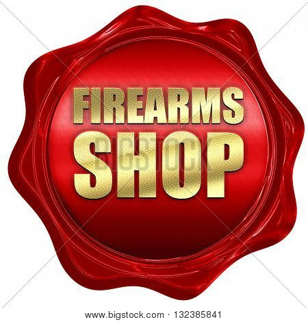 firearms shop, 3D rendering, a red wax seal