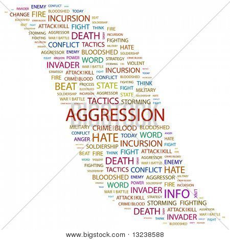 AGGRESSION. Word collage on white background. Illustration with different association terms.