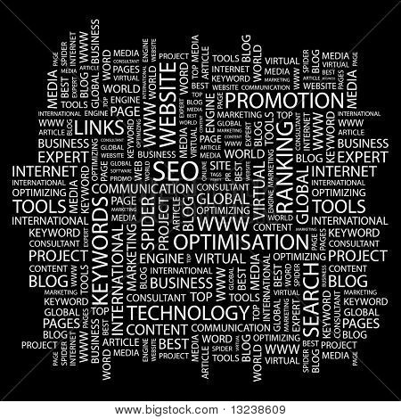 SEO. Word collage on black background. Illustration with different association terms.