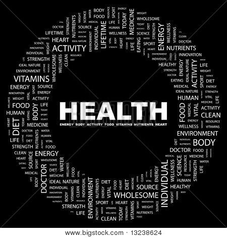 HEALTH. Word collage on black background. Illustration with different association terms.