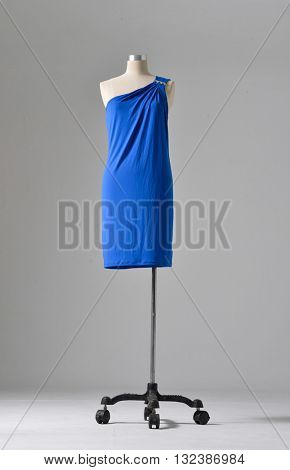 full-length female blue clothing on dummy-white background