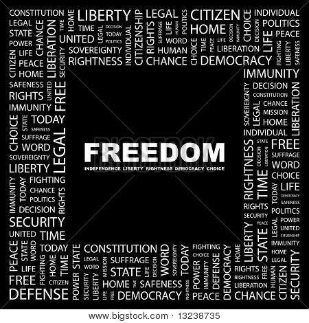 FREEDOM. Word collage on black background. Illustration with different association terms.