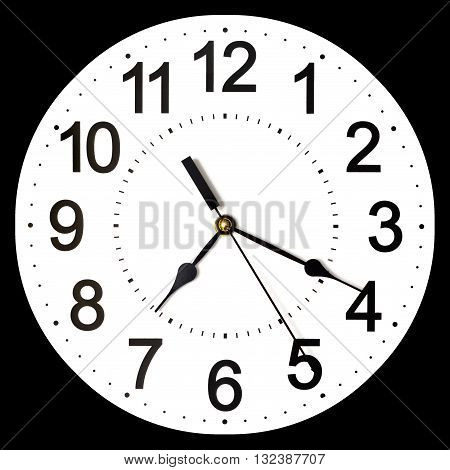 Wall clock isolated on black background. Ten past ten