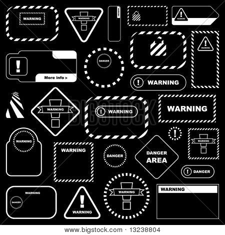 Warning sign collection. Vector template.