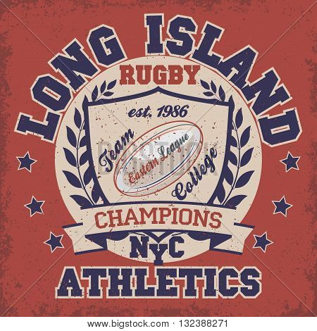 New York Long Island fashion print, Typography stamp, Rugby T-shirt Printing Design, sports original wear, sportswear print apparel - vector illustration