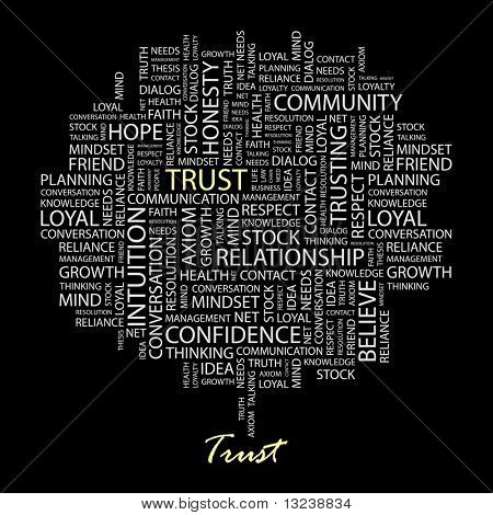 TRUST. Word collage on black background. Illustration with different association terms.