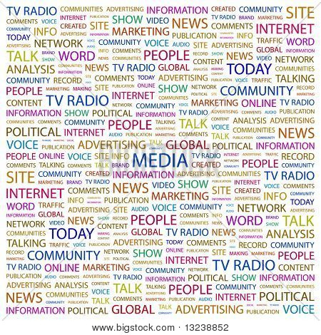 MEDIA. Word collage on white background. Illustration with different association terms.